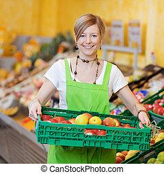felice, lavoratore, in, uno, supermercato