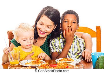 felice, mangiare, famiglia, pizza