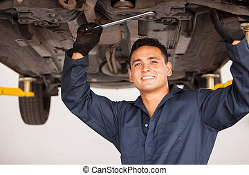 felice, meccanico, lavorando, uno, automobile