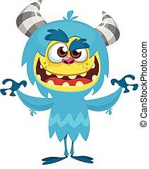 felice, mostro, peloso, o, cartone animato, blu, vettore, bigfoot, monster., yeti, halloween
