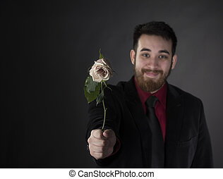 felice, offerta, rosa, completo, formale, uomo