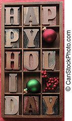 felice, ornamenti, vacanza, bacche
