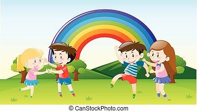 felice, parco, bambini, ballo