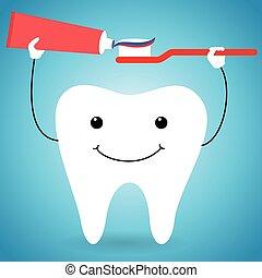 felice, pasta, spazzola, dente