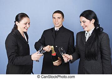 felice, persone affari, celebrazione