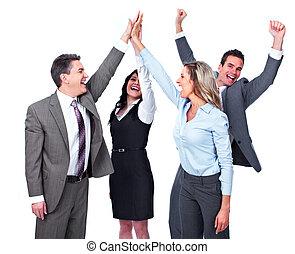 felice, persone affari, team.