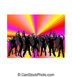 felice, persone, ballo
