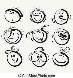 felice, persone, faccia, icona