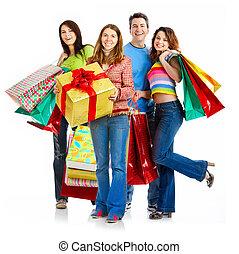 felice, persone., shopping