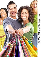 felice, persone, shopping