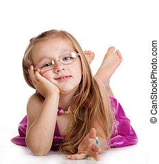 felice, piccola ragazza, porre pavimento, isolato