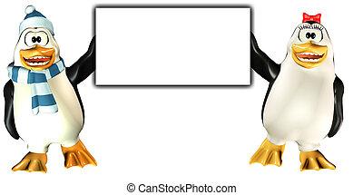 felice, pinguini, tenere segno