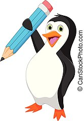 felice, pinguino, cartone animato, presa a terra, blu, matita