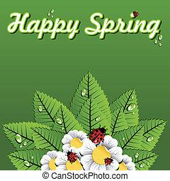 felice, primavera, foglie, fondo