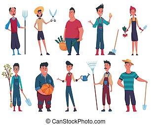 felice, privato, equipaggia, womans, disegno, mano, zucca, elementi, albero, fattoria, o, bianco, imbuto, contadino, set, fondo., giardiniere, pala, forcone