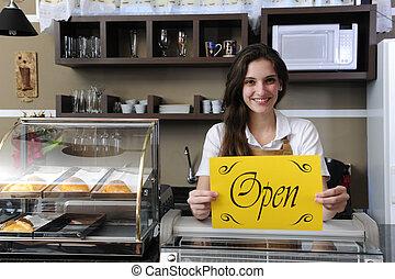 felice, proprietario, di, uno, caf?, esposizione, aprire segno