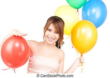 felice, ragazza adolescente, con, palloni