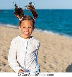 felice, ragazza, con, ponytails.