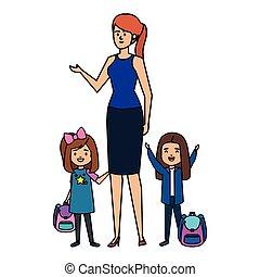 felice, ragazze, studente femmina, insegnante
