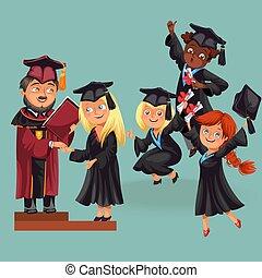 felice, ragazzi ragazze, su, parte laurea