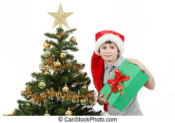 felice, ragazzo, in, cappello santa, mostra, presente natale