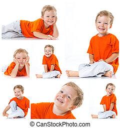 felice, ragazzo sedendo, pavimento