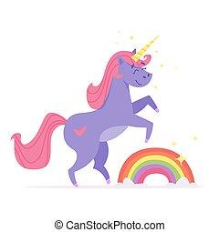 felice, rainbow., illustrazione, unicorno