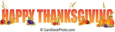 felice, ringraziamento, testo, con, frutte, e, verdura,...