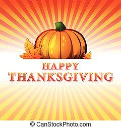 felice, ringraziamento, zucca, foglie, v