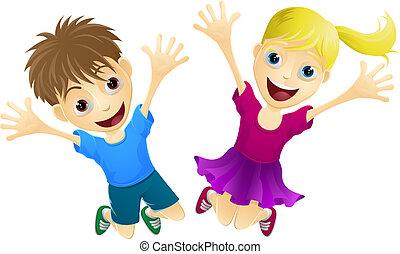 felice, saltare, bambini, aria