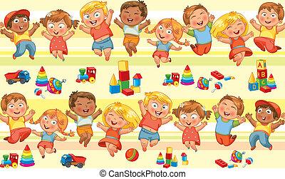 felice, saltare, bambini, tenere mani
