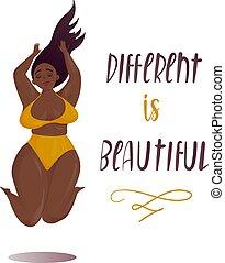 felice, saltare, più, formato, ragazza, corpo, positivo, concetto