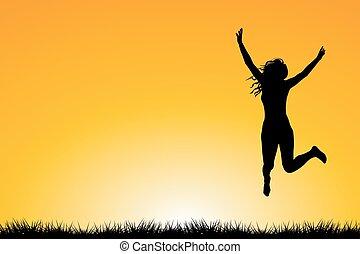 felice, saltare, vita gode, donna