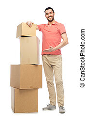 felice, scatole, cartone, uomo