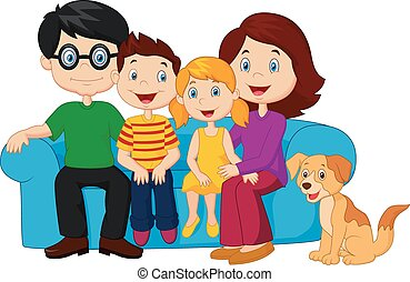 felice, seduta, sof, famiglia, cartone animato