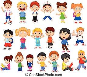 felice, set, bambini, collezione, cartone animato
