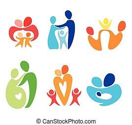 felice, set, famiglia, icone