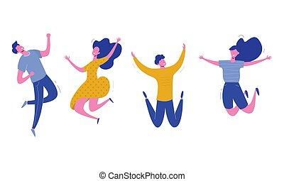 felice, set, femmina, persone, moderno, giovane, illustrazione, fondo., vettore, caratteri, elegante, maschio bianco, saltare