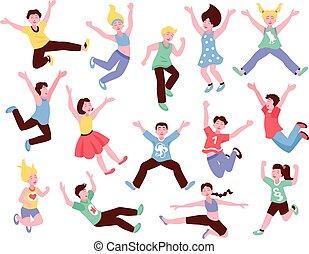felice, set, saltare, bambini