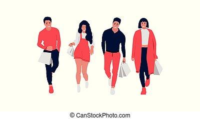 felice, shopping, persone