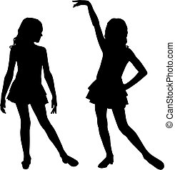 felice, silhouette, bambini