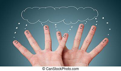 felice, smileys, dito, gruppo