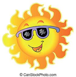 felice, sole, con, occhiali da sole