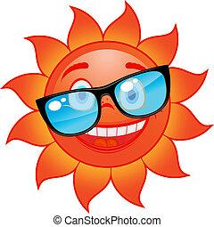 felice, sole, in, occhiali da sole
