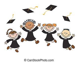 felice, sparviere, vettore, illustrazione, laureati