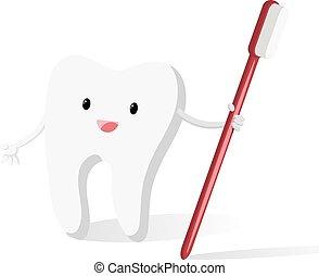 felice, spazzola, dente