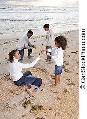 felice, spiaggia, gioco, famiglia, africano-americano