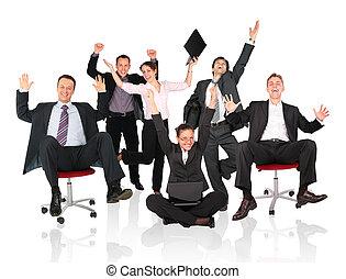 felice, squadra affari, sedia
