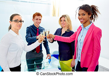 felice, squadra affari, tostare, con, champagne