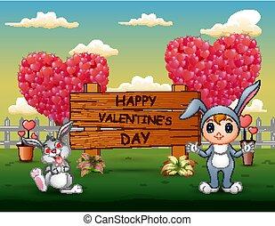 felice, standing, valentines, segno, giorno, ragazze